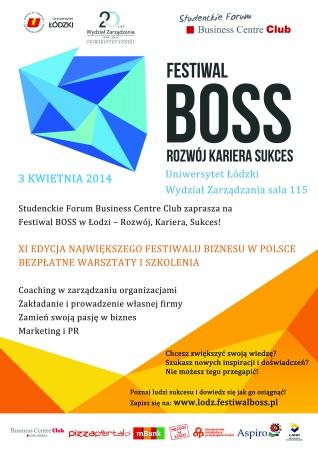Festiwal BOSS 3 kwietnia. Plakat